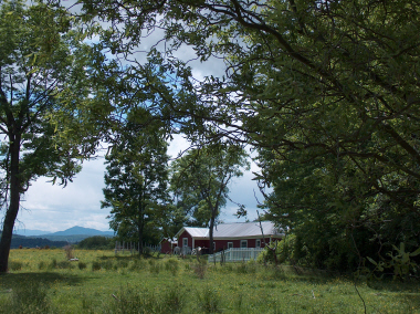 Looking south from Village to Herrick Mt. -the peak- with red barns